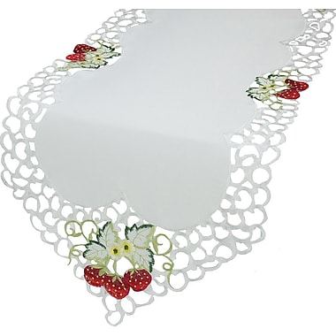 Xia Home Fashions Strawberry Embroidered Cutwork Table Runner; 15'' x 54''