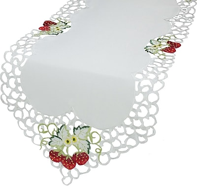 Xia Home Fashions Strawberry Embroidered Cutwork Table Runner; 15'' x 72''