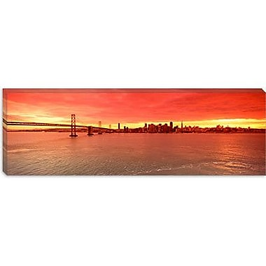 iCanvas Panoramic Bay Bridge in San Francisco, California Photographic Print on Canvas