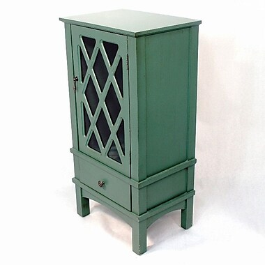 Heather Ann Wooden Accent Cabinet w/ Glass Insert; Tourquoise