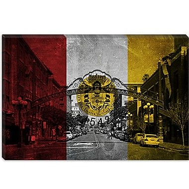 iCanvas San Diego Flag, Gaslamp Quarter w/ Grunge Graphic Art on Canvas; 8'' H x 12'' W x 0.75'' D