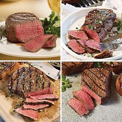 The FestivalOmaha Steaks 4 Filet Mignons (6 Oz.) & 4 Boneless Strips (10 Oz) & 4 Ribeyes (8 Oz.) & 4 Top Sirloins (8 Oz.)