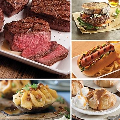 Omaha Steaks 2 Top Sirloins, 4 Omaha Steaks Burgers, 4 Gourmet Jumbo Franks, 4 Stuffed Baked Potatoes, 4 Caramel Apple Tartlets