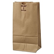 "Lagasse Extra Heavy Duty Paper 11.06""H x 6""W x 3.62""D Food Bags, Brown, 500/Pack"