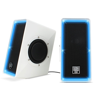 GOgroove SonaVERSE O2i Multimedia USB Computer Speakers with Blue LED Accents, White