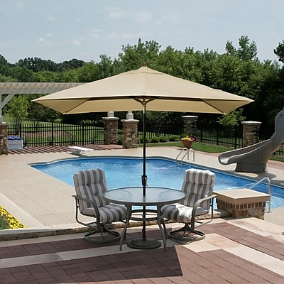 Blue Wave Adriatic 10' x 6.5' Rectangle Market Umbrella With Auto-Tilt, Stone Olefin