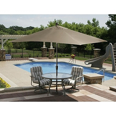 Blue Wave Caspian 10' x 8' Rectangle Market Umbrella With Auto-Tilt, Stone Olefin