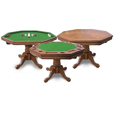Kingston Dark Oak 3-in-1 Poker Table w/ 4 Arm Chairs