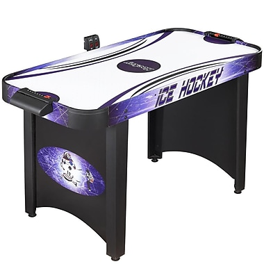 Hathaway™ Hat Trick 4' Air Hockey Table, Black/Purple/Blue