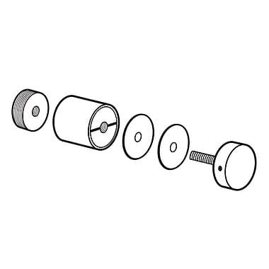 FFR Merchandising ? Ens. de douille-entretoise et de bouchon en métal 1 x 0,75 po, chrome, 2/paquet (8200000000)