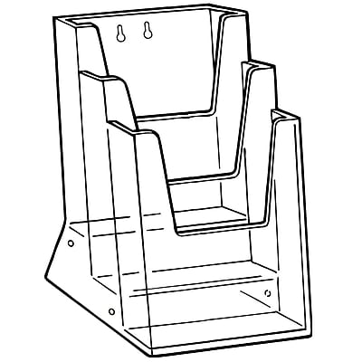 FFR Merchandising Triple-Tiered Styrene Literature Holder with Connector & Mounting Holes, 9