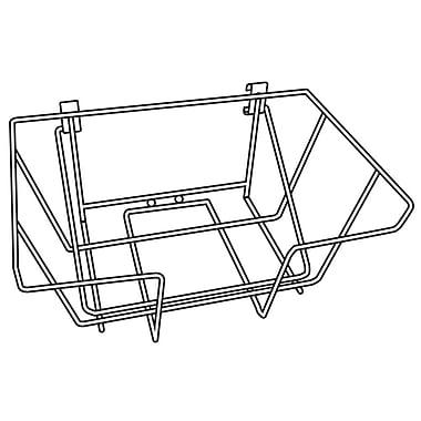 FFR Merchandising® Premier™ Posterframe Floor Stand with Wire Basket, Chrome