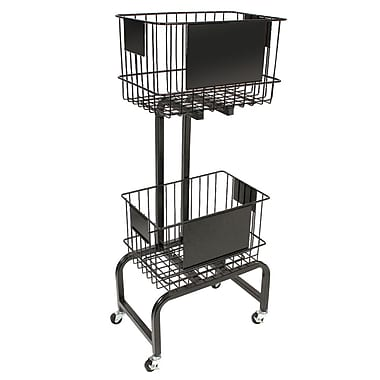 FFR Merchandising® Mobile Two-Tier Wire Dump Bin, 47