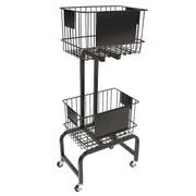 """FFR Merchandising® Mobile Two-Tier Wire Dump Bin, 47""""H x 20""""W x 13""""D"""