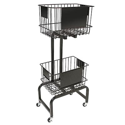 FFR Merchandising® Mobile Two-Tier Wire Dump Bin, 47