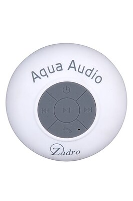 Zadro™ Aqua Audio Water Resistant Bluetooth Handfree Shower Speaker, White