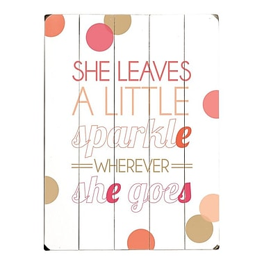 Artehouse LLC She Leaves a Little Sparkle by Amanada Catherine Textual Art Plaque in Pink