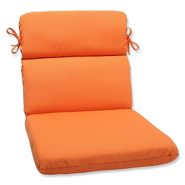 Pillow Perfect Canvas Outdoor Sunbrella Lounge Chair Cushion; Tangerine