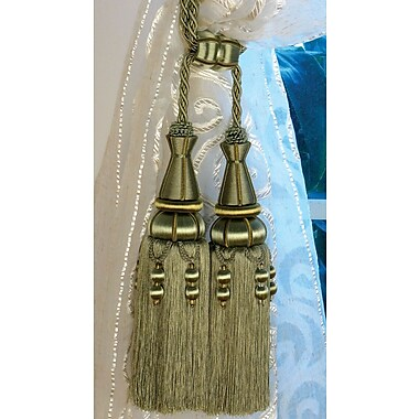 Xia Home Fashions Oversized Double Tassel Curtain Tieback; Gold