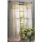 Xia Home Fashions Juliette Crochet Solid Sheer Tab Top Single Curtain Panel; White/Beige