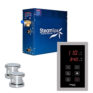 Steam Spa SteamSpa Oasis 12 KW QuickStart Steam Bath Generator Package in Polished Chrome