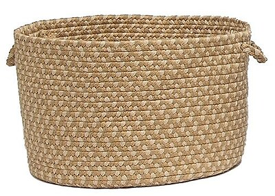 Colonial Mills Brook Farm Braided Utility Basket; Tea Stained