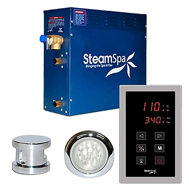 Steam Spa SteamSpa Indulgence 9 KW QuickStart Steam Bath Generator Package in Polished Chrome