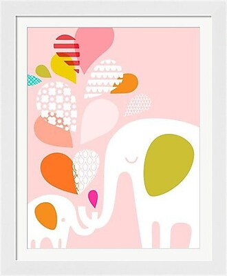 Evive Designs Elephant and Baby Framed Art