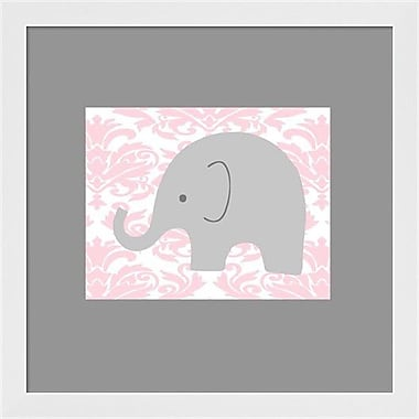 Evive Designs Elephant on Pink Damask by Ashley Calhoun Framed Graphic Art