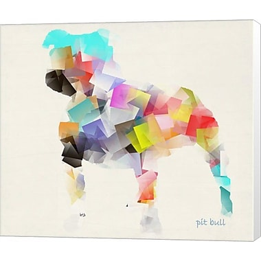 Evive Designs Pit Bull by Bri Buckley Painting Print on Wrapped Canvas