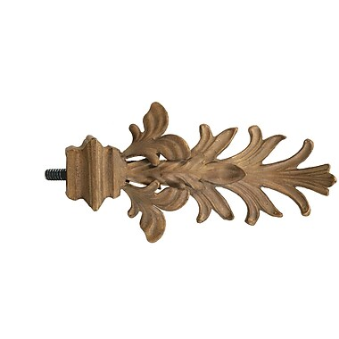 Menagerie Casa Outdoor Leaf w/ Square Base Curtain Finial (Set of 2); Gold