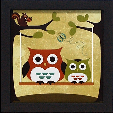 Artistic Reflections Two Owls on Swing by Lee, Nancy Framed Graphic Art