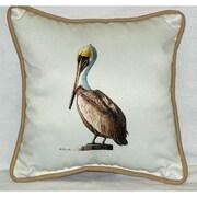 Betsy Drake Interiors Coastal Pelican Border Indoor/Outdoor Throw Pillow