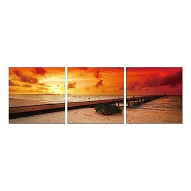 Artistic Bliss Red Sunset 3 Piece Framed Photographic Print Set