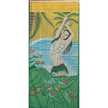 Bamboo54 Hula Girl w/ Lei Graphic Print & Text Semi-Sheer Single Curtain Panel