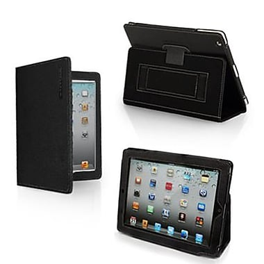 Snugg Leather Flip Stand Cover Case With Elastic Strap For Apple iPad 2, Black