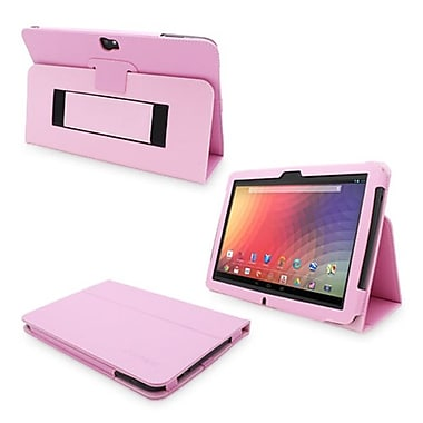 Snugg Leather Flip Stand Cover Case With Elastic Strap For Google Nexus 10, Candy Pink