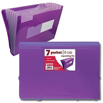 Better Office Products Poly Plastic 7 Pocket Expanding; 12/Pack
