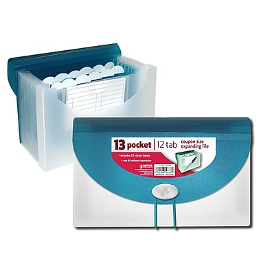 Better Office Products 13-Pocket Coupon Size Expanding File, Blue (50836)