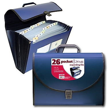 Better Office Products 26-Pocket Poly Expanding File with Handle (56634)