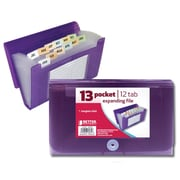 Better Office Products 13 Pocket Coupon Size Expanding File, Translucent