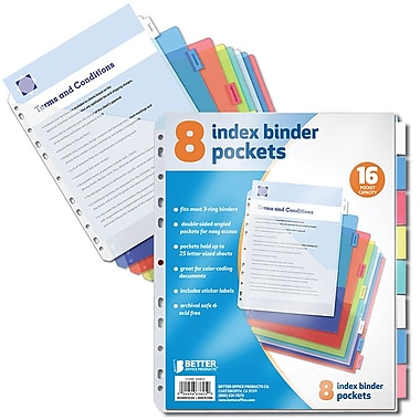 Better Office Products Paper 8 Tab Poly Index Dividers 6