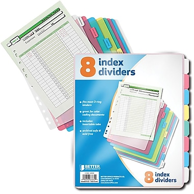 Better Office Products – 8 onglets d'index en poly (63830)