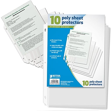 Better Office Products Page Protector Top Load, 24/Pack (81150-10PK)