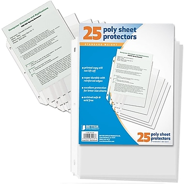 Better Office Products – Protège-feuilles, 25/paquet (81218-25PK)