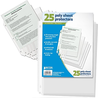 Better Office Products Poly Sheet Protectors, Clear, 25/Pack (81250-25PK)