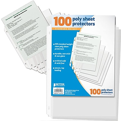 Better Office Products Letter Size Sheet Protector; 100 per Pack, Total of 6 Packs