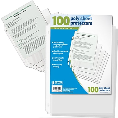 Better Office Products Poly Sheet Protector, 100/Pack (81450-100PK)