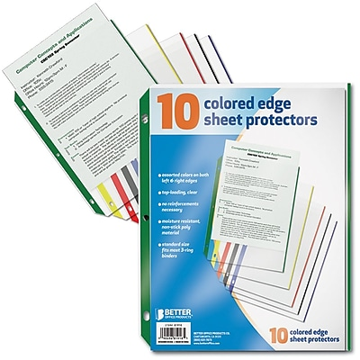 Better Office Products Sheet Protectors with Colored Edge; 12/Pack