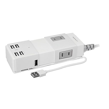Macally UNISTRIP Portable Power Strip With USB 2.0 Hub and Charger